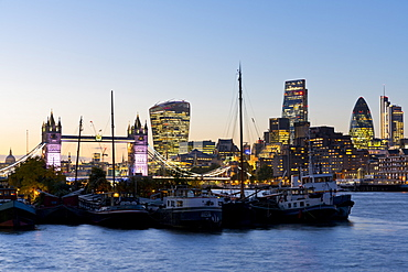 View of the Financial District of the City of London, Tower Bridge and the River Thames, London, England, United Kingdom, Europe