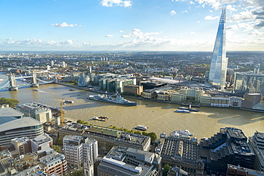 View of the River Thames, Tower Bridge, and the Shard, London, England, United Kingdom, Europe