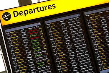 Departures Sign in London Heathrow Airport, London, England, United Kingdom, Europe