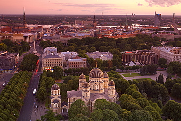 Elevated view at dusk over Old Town, UNESCO World Heritage Site, Riga, Latvia, Europe