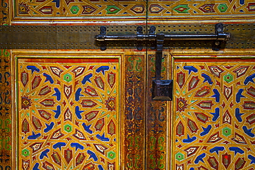 Interior door detail, Moulay Ismail Mausoleum, Medina, Meknes, Morocco, North Africa, Africa