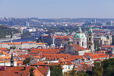 View from Castle District (Hradcany) to Mala Strana suburb with Dome and Tower of St. Nicholas Church and Vltava River, Prague, Bohemia, Czech Republic, Europe
