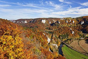View on Burg Wildenstein Castle and Danube Valley in autumn, Upper Danube Nature Park, Swabian Alb, Baden Wurttemberg, Germany, Europe