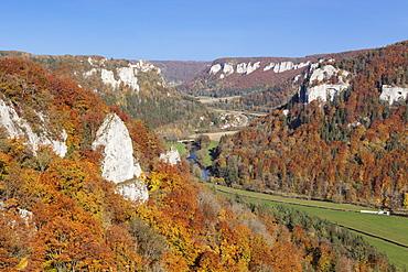 View from Eichfelsen Rock on Schloss Werenwag Castle and Danube Valley, Upper Danube Nature Park, Swabian Alb, Baden Wurttemberg, Germany, Europe