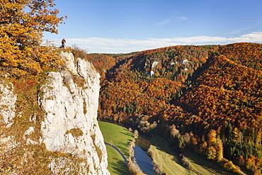 Eichfelsen Rock and Danube Valley in autumn, Upper Danube Nature Park, Swabian Alb, Baden Wurttemberg, Germany, Europe