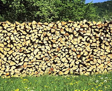 Wood pile, flower meadow, Swabian Alb, Baden Wurttemberg, Germany, Europe