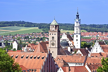 Donauworth with Liebfrauenmunster Church and pilgrimage church Heilig Kreuz, Romantic Road, Bavarian Swabia, Bavaria, Germany, Europe