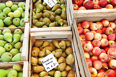 Apples and pears at a market stall, weekly market, market place, Esslingen, Baden Wurttemberg, Germany, Europe