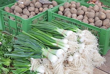 Onions and potatoes at a market stall, weekly market, market place, Esslingen, Baden Wurttemberg, Germany, Europe