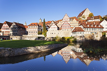Half-timbered houses on the banks of the Kocher River, Schwaebisch Hall, Hohenlohe, Baden Wurttemberg, Germany, Europe