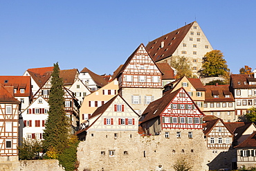 Half-timbered houses, Schwaebisch Hall, Hohenlohe, Baden Wurttemberg, Germany, Europe