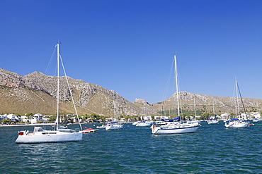 View over the marina to Port de Pollenca, Pollenca, Majorca (Mallorca), Balearic Islands (Islas Baleares), Spain, Mediterranean, Europe