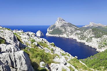 Viewpoint  Mirador d' Es Colomer (Mal de Pas), Cap de Formentor, Cape Formentor, Majorca (Mallorca), Balearic Islands (Islas Baleares), Spain, Mediterranean, Europe
