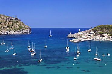 View over the port to the lighthouses at Cap Gros and  Punt de sa Creu, Port de Soller, Majorca (Mallorca), Balearic Islands, Spain, Mediterranean, Europe