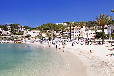 Playa d'Es Traves Beach at Promenade Passeig Es Traves, Port de Soller, Majorca (Mallorca), Balearic Islands, Spain, Mediterranean, Europe
