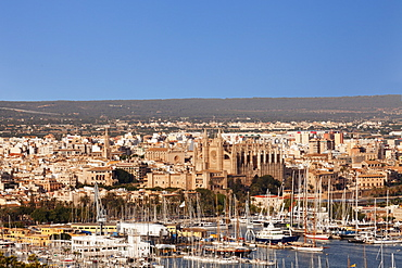 View over the old town of Palma de Mallorca with Cathedral of Santa Maria of Palma (La Seu) and Almudaina Palace, Majorca (Mallorca), Balearic Islands, Spain, Mediterranean, Europe