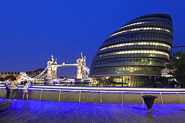 City Hall and Tower Bridge at night, London, England, United Kingdom, Europe