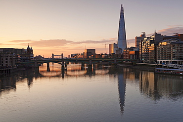 The Shard building, Blackfriars Bridge, Tower Bridge at sunrise,  London, England, United Kingdom, Europe