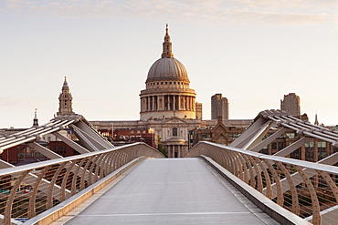 Millennium Bridge and St .Paul's Cathedral at sunrise, London, England, United Kingdom, Europe
