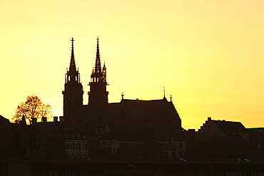 Silhouette of the Cathedral at sunset, Grossbasel, Basel, Canton Basel Stadt, Switzerland, Europe