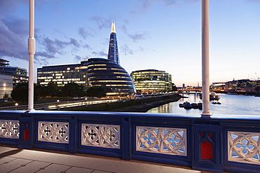 View from Tower Bridge over River Thames to Southwark with City Hall and The Shard Building, London, England, United Kingom, Europe