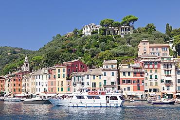 Excursion boat in the Harbour of Portofino, Riviera di Levante, Province of Genoa, Liguria, Italy, Europe