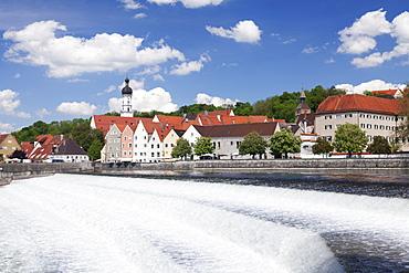 Lechwehr weir, Lech River, old town of Landsberg am Lech, Bavaria, Germany, Europe
