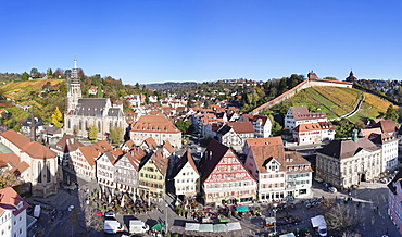 Market Square, St. Paul Minster and Frauenkirche Church and Castle, Esslingen, Baden Wurttemberg, Germany, Europe