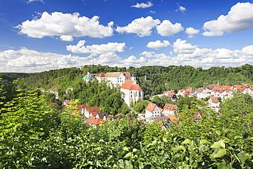 Castle and Pilgrimage Church of St. Anna, Haigerloch, Eyachtal Valley, Schwaebische Alb (Swabian Alb), Baden Wurttemberg, Germany, Europe