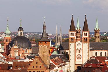 Augustinerkirche church, Neumuenster collegiate church, Grafeneckart Tower, townhall, Cathedral of St. Kilian, Wurzburg, Franconia, Bavaria, Germany, Europe