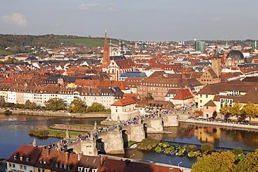 Old Bridge over the Main River, Augustinerkirche church, Grafeneckart Tower, townhall, Wurzburg, Franconia, Bavaria, Germany, Europe