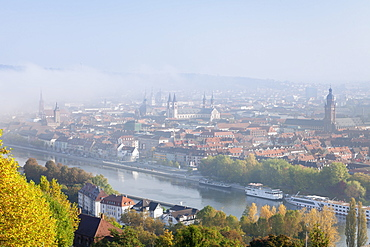 View over the Main River to the old town of Wurzburg in autumn, Franconia, Bavaria, Germany, Europe