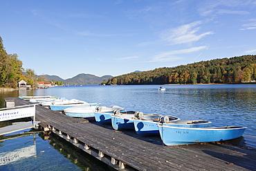 Boat hire, Walchensee Village, Walchensee Lake, Bavarian Alps, Upper Bavaria, Bavaria, Germany, Europe