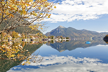 Walchensee Village and Jochberg Mountain reflecting in Walchensee Lake in autumn, Bavarian Alps, Upper Bavaria, Bavaria, Germany, Europe