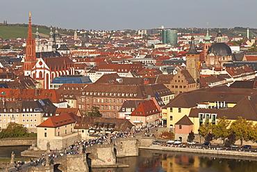 Old Bridge of the Main River, Augustinerkirche church, Grafeneckart Tower, townhall, Wurzburg, Franconia, Bavaria, Germany, Europe