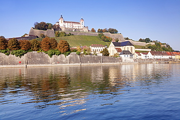 View over the main River to Marienberg Fortress and St. Burkard church in autumn, Wuerzburg, Franconia, Bavaria, Germany, Europe