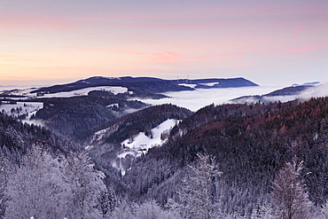 View from Black Forest Highway to Simonswaelder Tal Valley at sunset, Black Forest, Baden-Wurttemberg, Germany, Europe