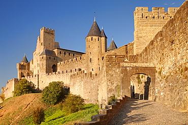 La Cite, medieval fortress city, Carcassonne, UNESCO World Heritage Site, Languedoc-Roussillon, France, Europe