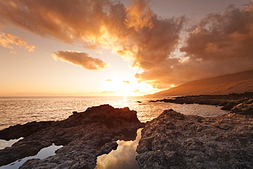 Sunset at south coast near La Restinga, UNESCO biosphere reserve, El Hierro, Canary Islands, Spain, Atlantic, Europe