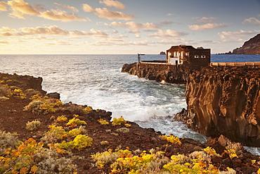 Hotel Punta Grande at sunset, Las Puntas, El Golfo, lava coast, UNESCO biosphere reserve, El Hierro, Canary Islands, Spain, Atlantic, Europe