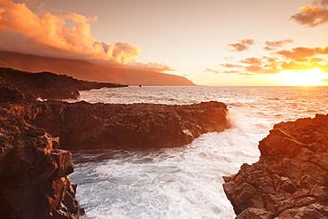 Lava coast of Las Puntas at sunset, El Golfo, biosphere reserve, El Hierro, Canary Islands, Spain, Atlantic, Europe