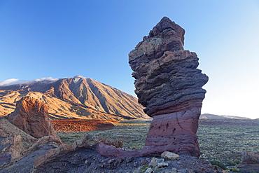 Los Roques de Garcia at Caldera de las Canadas, Pico de Teide at sunset, National Park Teide, UNESCO World Heritage Natural Site, Tenerife, Canary Islands, Spain, Europe