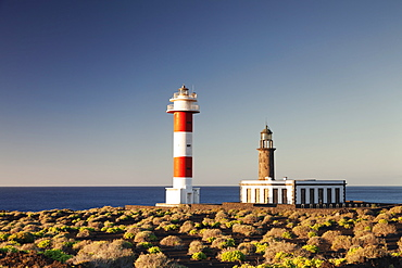 Faro de Fuencaliente lighthouses at sunrise, Punta de Fuencaliente, La Palma, Canary Islands, Spain, Atlantic, Europe