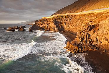 Zamora Beach at sunset (Playa de  la Zamora) near Fuencaliente, UNESCO Biosphere Reserve, La Palma, Canary Islands, Spain, Atlantic, Europe