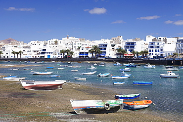 Fishing boats at Charco San Gines laguna, Arrecife, Lanzarote, Canary Islands, Spain, Atlantic, Europe