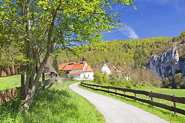 St. Georg chapel, Kaeppeler Hof, Thiergarten, Danube Valley in spring, Upper Danube Nature Park, Swabian Alb, Baden-Wurttemberg, Germany, Europe