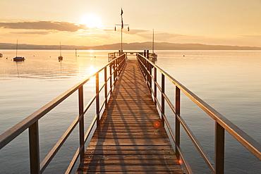 Sunset at Lake Constance, near Konstanz, Baden-Wurttemberg, Germany, Europe