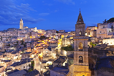 View from bell tower of Chiesa di San Pietro Barisano to Sasso Barisano and cathedral, UNESCO World Heritage Site, Matera, Basilicata, Puglia, Italy, Europe