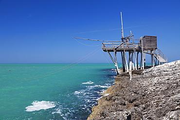 Trabuccho, traditional fishing machine, Gargano coast, Foggia Province, Puglia, Italy, Europe