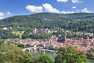 Old town with Karl-Theodor-Bridge (Old Bridge), Heilig Geist Church and Castle, Neckar River, Heidelberg, Baden-Wurttemberg, Germany, Europe